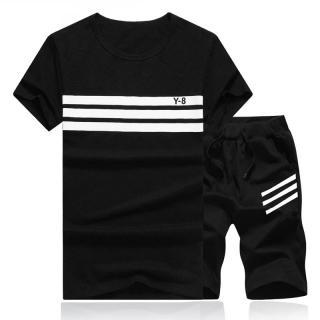 Pánský set s pruhy - Tričko a kraťasy - 5 barev Barva: černá, Velikost: XS