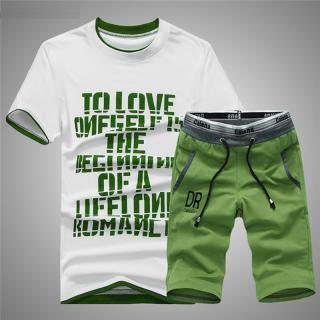 Pánský set - Tričko a kraťasy - 4 barvy Barva: zelená, Velikost: XS