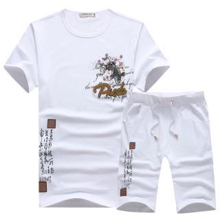Pánský set - Tričko s potiskem ryby a kraťasy - 2 barvy Barva: bílá, Velikost: XS
