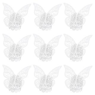 Papírový kroužek na ubrousky s motýlem 50 ks Barva: bílá