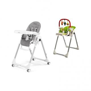PEG PEREGO Jídelní židlička Prima Pappa Follow Me Wonder Grey 2021 hrazdička šedá