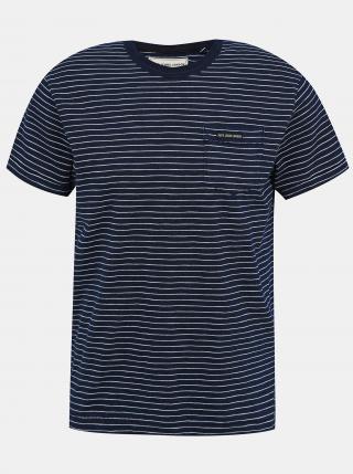 Pepe Jeans modré pánské tričko Gibbon s pruhy - S pánské modrá S