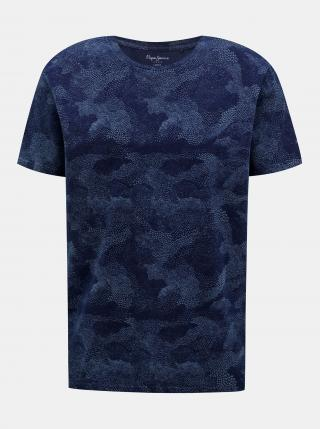Pepe Jeans modré pánské vzorované tričko - S pánské modrá S