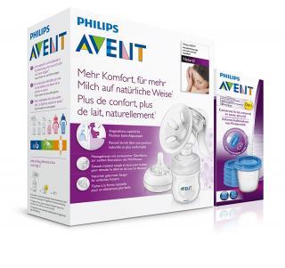 Philips AVENT Odsávačka mateřského mléka Natural se zásobníkem 125 ml   VIA 180 ml 5 ks bílá