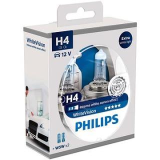 PHILIPS  H4 WhiteVision 60/55W, patice P43t-38, 2 ks   zdarma 2x W5W