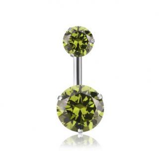 Piercing do pupíku se dvěma kamínky - 12 barev Barva: zelená