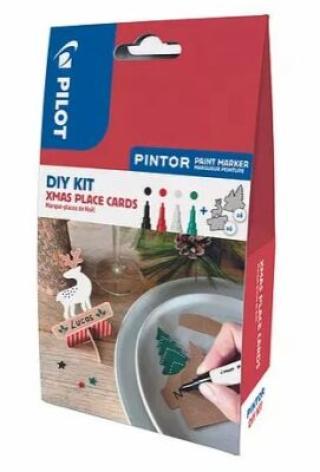 PILOT Pintor Fine Kreativní sada akrylových popisovačů 0,9-1,5mm - XMAS 4 ks   jmenovky 12 ks