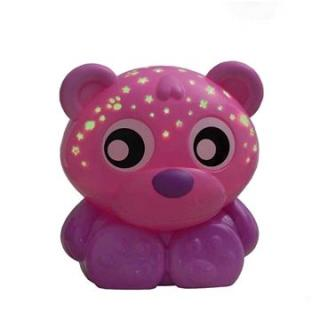 Playgro Usínací lampička medvídek s projektorem  růžový