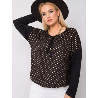 Plus size black blouse with stars dámské Neurčeno M