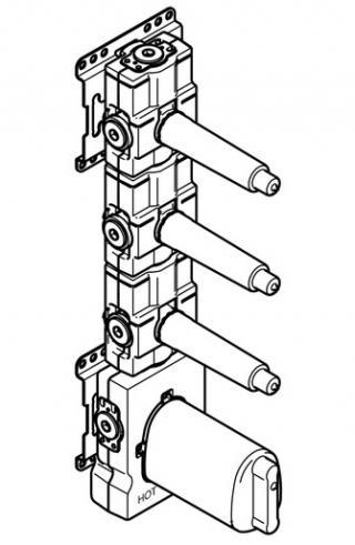Podomítkový termostatický modul Dornbracht xTool se 3 ventily 3/4 3553197090