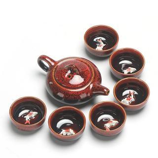 Porcelánová čajová sada 7 ks C122 Barva: červená