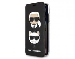 Pouzdro book Karl Lagerfeld Karl & Choupette na iPhone XS Max, Black
