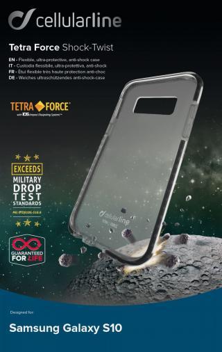 Pouzdro Cellularline Tetra Force Shock-Twist pro Samsung Galaxy S10, transparentní