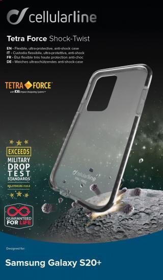 Pouzdro Cellularline Tetra Force Shock-Twist pro Samsung Galaxy S20 , transparentní