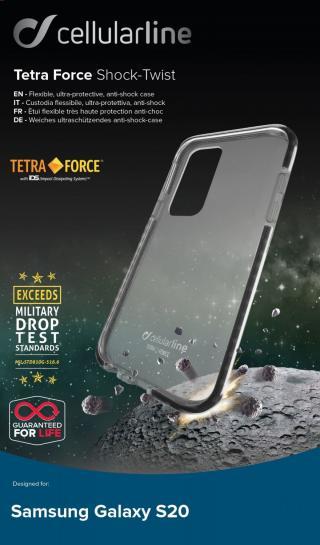 Pouzdro Cellularline Tetra Force Shock-Twist pro Samsung Galaxy S20, transparentní