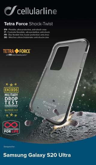 Pouzdro Cellularline Tetra Force Shock-Twist pro Samsung Galaxy S20 Ultra, transparentní