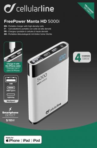 Powerbanka Cellularline FreePower Manta HD, 5000 mAh, Lightning USB-C, bílá