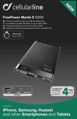 Powerbanka CellularLine FREEPOWER MANTA S, 5000mAh, USB-C USB, černá