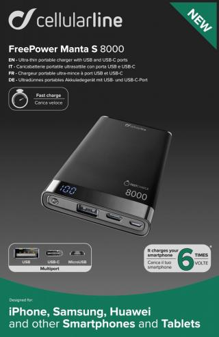 Powerbanka CellularLine FREEPOWER MANTA S, 8000mAh, USB-C USB, černá