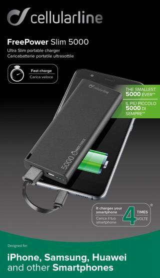 Powerbanka CellularLine FREEPOWER SLIM, microUSB, 5000mAh, černá