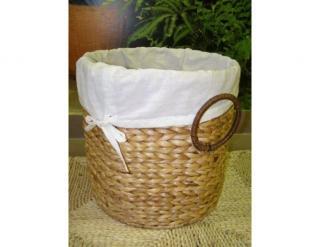 Prádelní koš, vodní hyacint, kulatý prádelní koš nižší - vodní hyacint