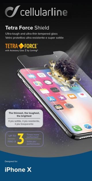 Prémiové tvrzené sklo Cellularline TETRA FORCE GLASS pro Apple iPhone X/XS/11 Pro