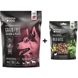 PrimaDog Losos s bramborami bez obilovin, pro dospělé psy s citlivým trávením 1,5 kg   Pamlsek 100 g