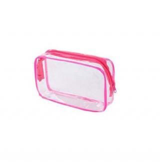 Průhledná kosmetická taštička Barva: růžová, Velikost: S