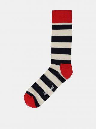 Pruhované ponožky v červené, bílé a černé barvě Happy Socks Stripe pánské bílá 36-40