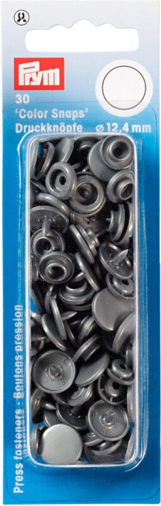 PRYM Zacvakávací knoflíky Color snaps Silver Grey 12,4 mm