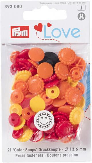 PRYM Zacvakávací knoflíky Color Snaps Yellow/Red/Orange 13,6 mm Mix