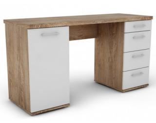 Psací stůl Walter, dub burgund/bílý Bílá