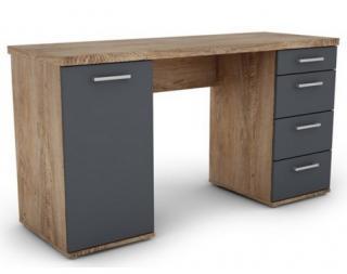 Psací stůl Walter, dub burgund/grafitově šedý Šedá