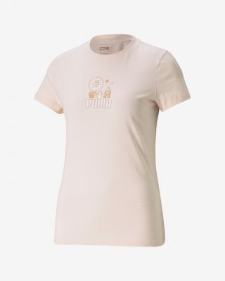 Puma Graphic Streetwear Triko Růžová dámské XS