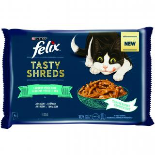 Purina Kapsička FELIX TASTY SHREDS Multipack losos a tuňák ve šťávě 4x80g
