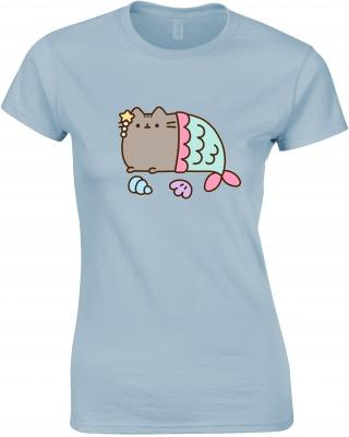 Pusheen Mercat Womens T-Shirt XL dámské Light Blue XL