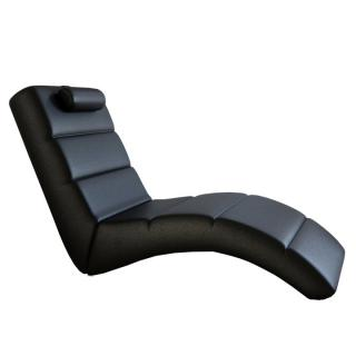 Relaxační křeslo designové ekokůže černá LONG