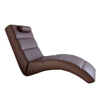 Relaxační křeslo designové ekokůže hnědá LONG