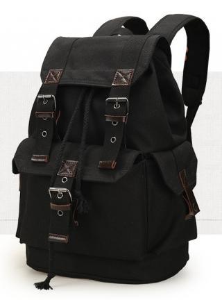 Retro plátěný batoh - 3 barvy Barva: černá