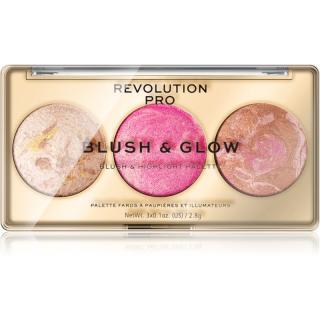 Revolution PRO Blush & Glow paletka pro celou tvář odstín Rose Glow 8,4 g dámské 8,4 g