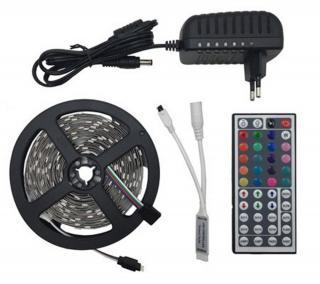 RGB LED vodotěsný pásek   ovladač   DC 12V napájecí adaptér Délka: 10 m
