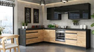Rohová kuchyně brick levý roh 300x182 cm - ii. jakost černá vysoký lesk