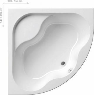 Rohová vana Ravak Gentiana 150x150 cm akrylát CG01000000 bílá bílá