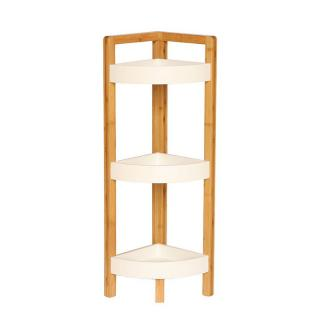 Rohový regál, bílá/přírodní bambus, FONG