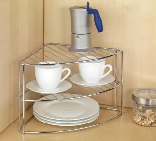 Rohový regál na nádobí kovový