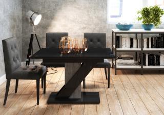 Rozkládací jídelní stůl Merida, černý lesk
