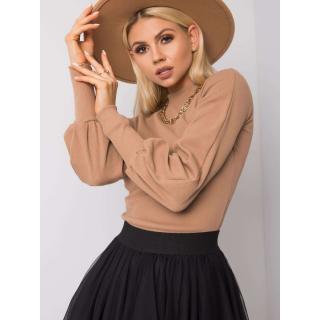 RUE PARIS Camel blouse made of cotton dámské Neurčeno S