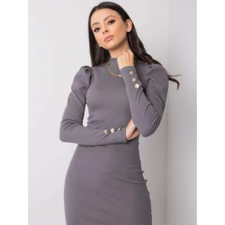 RUE PARIS Dark gray fitted striped dress dámské Neurčeno S