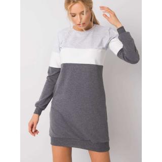 RUE PARIS Gray and graphite sweatshirt dress dámské Neurčeno M