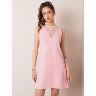 RUE PARIS Light pink dress with lace insert dámské Neurčeno M